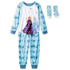 Frozen Anna & Elsa Flannel Pajama and Socks Set